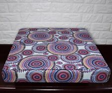 AF256t Fuschic Blue Flower Cotton Canvas 3DBox Sofa Seat Cushion Cover Customize