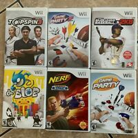 WII Nintendo Lot of 6 Complete Game Party TopSpin Nerf 2K De Blob