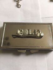 Golf Club Ball Sign TG271 Fine English Pewter On Mirrored 7 Day Pill box Compact