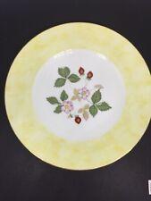 Wedgwood WILD STRAWBERRY (BONE) Accent Salad Plate Yellow Band