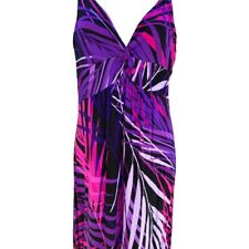Spense  Womens Maxi Sundress Purple Leaf Stretch Sleeveless Petites PM