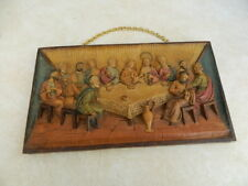 VTG Last Supper 3D Wall Sculpture Plaque Christian Bible Jesus Colored Numbered
