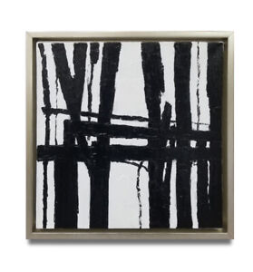 Hungryartist-NY artist Framed modern original abstract black white oil painting