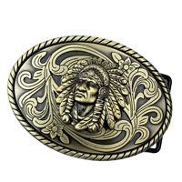 Bronze  Indian Warrior Chief Belt Buckle Mens Belt Buckle