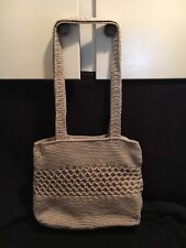Worthington Crocheted Beige Olefin Shoulder Bag Knit Knitted Tan Crochet Purse