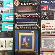 Lot of 9 cross stitch charts Native American theme eagle pony dream catcher more