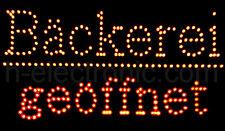 LED Schild Leuchtreklame Bäckerei geöffnet Open Schilder Blinken Gelb Rot