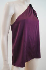 ELIE TAHARI Burgundy Plum Stretch Silk One Bow Shoulder Embellished Blouse Top M