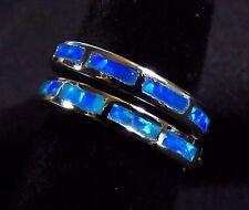 """Sterling 925 Silver SF Hoop Snap Earrings INSIDE/OUTSIDE Blue Lab Opal 3/4"""""""