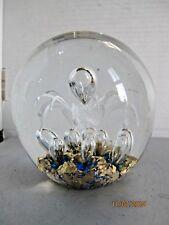 Vintage art glass flower paperweight gold flecks controlled bubbles b57