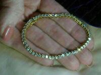 "5.00 Carat Round Cut Ladies VVS1 Diamond Tennis Bracelet 14k Yellow Gold Over 7"""