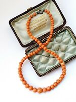 "Antique Victorian 13.5""  Salmon Coral Child's Graduated Beads Necklace 15gr"