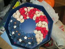 WOODEN ROSE RED WHITE AND BLUE WREATH NEW