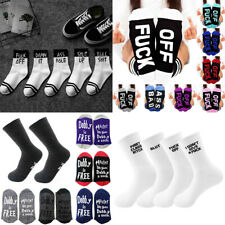 Fashion Mens Women Letters Skateboard Socks Fuck-off Print Funny Casual Socks