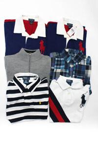 Polo Ralph Lauren Jacadi Boys Shirts Sweater Blue Grey Size 14-16 S 10A Lot 6