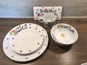 Hand painted Personalised Dinner Set. Mug Bowl Side & Dinner Plate. Customised