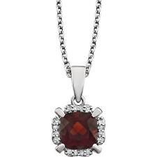 """6 mm Genuine Garnet Cushion Gem & .05 cttw Diamonds 18"""" Necklace 14K. White Gold"""