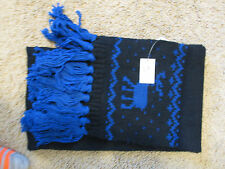 NEW ABERCROMBIE womens  CABLE KNIT SCARF MOOSE LOGO BLUE AND NAVY STRIPE