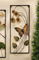 """27"""" Iron Monarch Butterfly & Sunflowers 3D Wall Plaque Rectangle"""