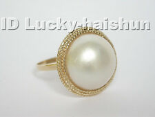 white South Sea Mabe Pearls Rings 14K Solid gold #8 j5083