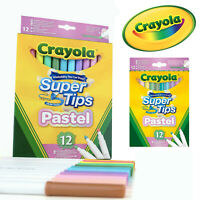 Crayola Kids 12 Pastel Super Tips Stationary Felt Tip Colouring Marker Pens