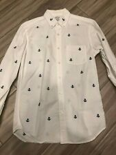 J Crew Lightweight Cotton Oxford Shirt Size Small Slim Fit White Anchor Button