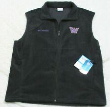 New Columbia Vest Black Solid Mens Polyester Fleece Zip Up Jacket Coat UW Large