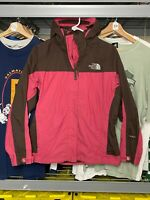 Womens Small The North Face HyVent Pink Gray TNF Logo Full Zip Hooded Jacket