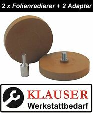 2 x Folienradierer / Aufkleberentferner + Adapter für Bohrmaschine -versandfrei-