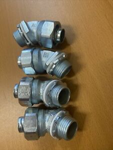 """Appleton ST-4550 1/2"""" Flexible 45 Degree Conduit Connector Fitting Lot Of 4 NOS"""
