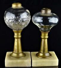 ANTIQUE WHALE OIL LAMPS (2)-BRASS STEM-MARBLE BASE-BLOWN GLASS
