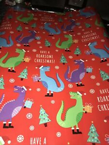 Dinosaur Christmas Wrapping Paper -  Flat Gift Wrap 5M X 50cm