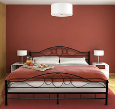 Black Metal Bed Frame Double Size Iron Luxury Design Sturdy Modern Bedroom Beds