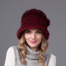 100% Real Winter Women Burgundy Knit Mink Fur Hat Cap Headgear Tuque Beanie Hats