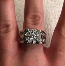 Beautiful 925 Sterling Silver Dome Ring W/21 CZ Gemstones - Sz 9 - 10 Gr - 12 MM