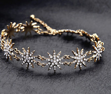 Gold Bronze Star Snow Rhinestone Crystal Glamours Bling Choker Necklace Zara
