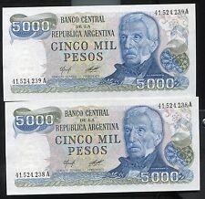 ARGENTINA - TWO BEAUTIFUL UNC CONSECUTIVE 5000 PESOS, (1977-83), ARMS WATERMARK