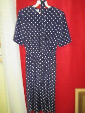 Vintage Henry Lee polyester Dress navy with white Dots