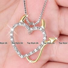 Devil & Angel Wings Heart Necklace Pendant Chain Silver & Gold Jewellery J531