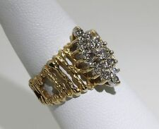 Solid 14k Gold ring with 17 Diamonds 0.5 TCW Oval Design Aged Reclaimed Wood sz6