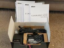Nikon Coolpix S570 12.0MP Black Digital Camera ~ Excellent w/ Box & Accessories