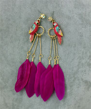 E044/ NWT BJ JEWELRY PARROT BIRDS FEATHER DROP EARRINGS