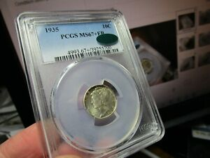 REGISTRY 1935 MERCURY DIME  PCGS & CAC  MS-67+  FB  AT CAC ONLY 1 GRADED HIGHER