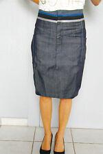 Jupe jeans lin coton M+F GIRBAUD saritabli T 27 (36-38) NEUVE ÉTIQUETTE val 280€
