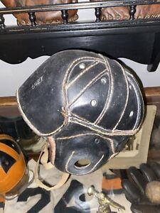 antique leather football helmet