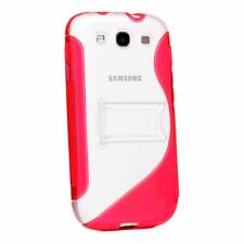 CLEAR PLASTIC & TPU GEL S-LINE STAND CASE COVER FOR SAMSUNG GALAXY S3 I9300 LTE