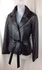 WILSONS Maxima Black Soft Leather Belted Jacket Womens Large Coat Zip out Lining