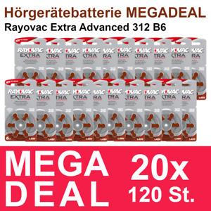 120x Hörgerätebatterie Typ 312 / Braun Rayovac extra advanced - MHD_2025 #R312
