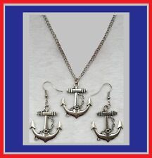 Cute New Tibetan/Antique Silver Nautical Anchor Pendant & Dangle Drop Earrings