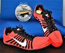 NEW NIKE Zoom D Crimson Orange Black White Track Distance Spikes Shoes Mens 8